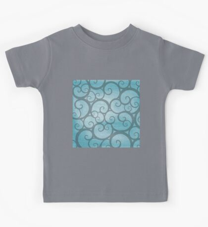 blue,teal,scroll,wavy,swirl,floral,abstract,pattern,modern,trendy Kids Tee