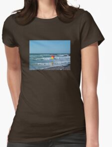 SURFS UP FLAG AT SANDYMOUTH BEACH CORNWALL Womens Fitted T-Shirt