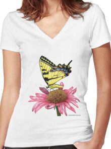 Swallowtail and Coneflower Women's Fitted V-Neck T-Shirt