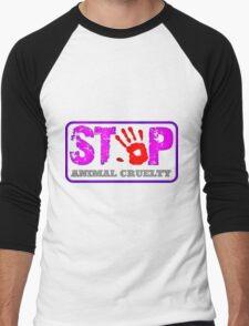 STOP violence against animals! Men's Baseball ¾ T-Shirt