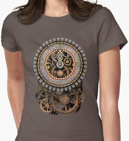Vintage Steampunk Clock (Stopped at Midnight!...OO-Er!!) Womens Fitted T-Shirt