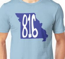 Hand Drawn Missouri State 816 Area Code Royal Blue Unisex T-Shirt