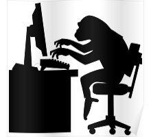 Monkey Pounding the Keyboard Poster