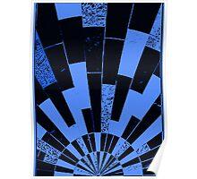 Black and Blues, bricks pattern Poster