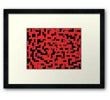 Line Art - The Bricks, tetris style, red and black Framed Print
