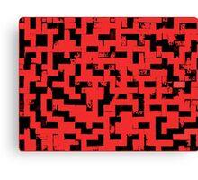 Line Art - The Bricks, tetris style, red and black Canvas Print