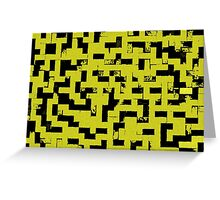 Line Art - The Bricks, tetris style, yellow and black Greeting Card