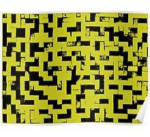 Line Art - The Bricks, tetris style, yellow and black Poster