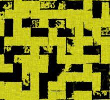 Line Art - The Bricks, tetris style, yellow and black Sticker