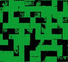 Line Art - The Bricks, tetris style, green and black Sticker