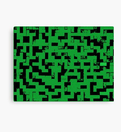 Line Art - The Bricks, tetris style, green and black Canvas Print
