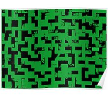 Line Art - The Bricks, tetris style, green and black Poster