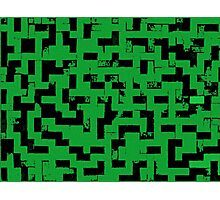 Line Art - The Bricks, tetris style, green and black Photographic Print