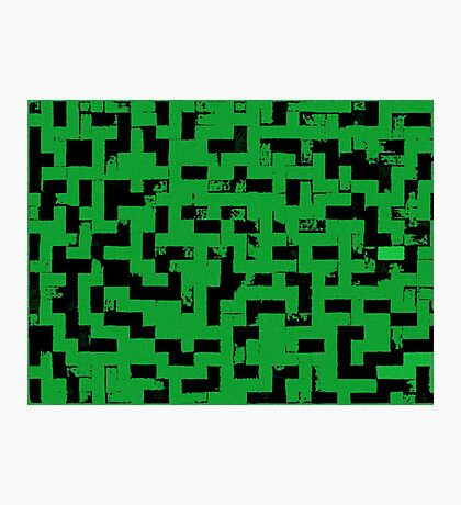 Line Art - The Bricks, tetris style, green and black Photographic Print