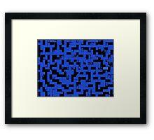 Line Art - The Bricks, tetris style, dark blue and black Framed Print