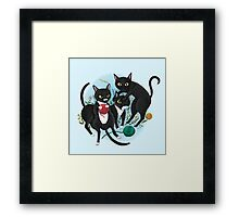 Three Black Cats Framed Print