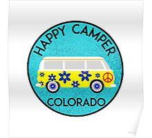CAMPING HAPPY CAMPER COLORADO MOUNTAINS VOLKSWAGEN BUS PEACE HIPPIE CAMPING 2 Poster