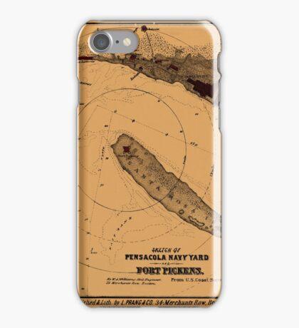 Map Of Pensacola 1862 iPhone Case/Skin