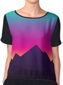 Retro Sunset Chiffon Top