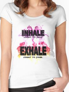 Inhale Exhale (Black text) Women's Fitted Scoop T-Shirt