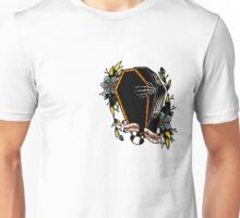 Skeleton Coffin Flower Traditional Tattoo Design Unisex T-Shirt