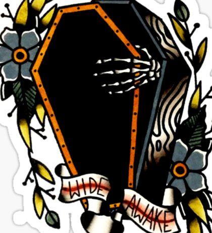 Skeleton Coffin Flower Traditional Tattoo Design Sticker