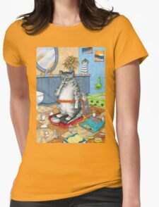 Cat 579 overweight cat Womens Fitted T-Shirt