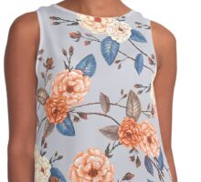 Roses in Auburn and Peach on Dove Grey Contrast Tank
