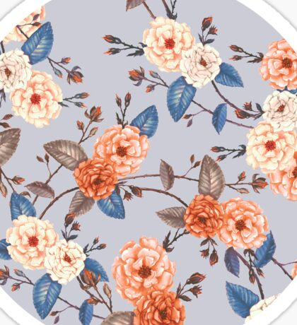 Roses in Auburn and Peach on Dove Grey Sticker