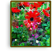 FLOWER GARDEN; With Plastic Psychedelic Flowers Canvas Print