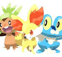 Starter Pokemon from Pokemon X&Y  by lewis carnegie