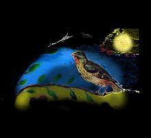 Bird in moonlight by JoAnnFineArt