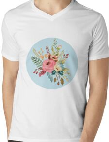 Watercolor Roses Floral Wildflowers on Sky Blue Mens V-Neck T-Shirt