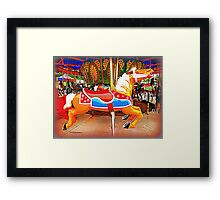Flying Horsey With Red Saddle Framed Print