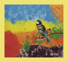 Beautiful bird on colorful background Kids Clothes