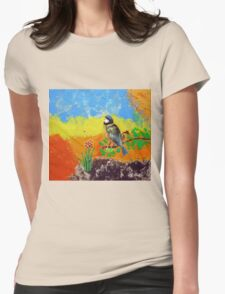 Beautiful bird on colorful background Womens Fitted T-Shirt
