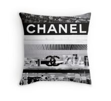 Chanel in Classic Black & White Throw Pillow