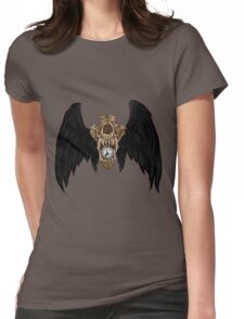 Wolf Skull Black Wings Womens Fitted T-Shirt