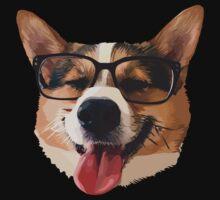 Corgi Dog with Glasses Kids Tee