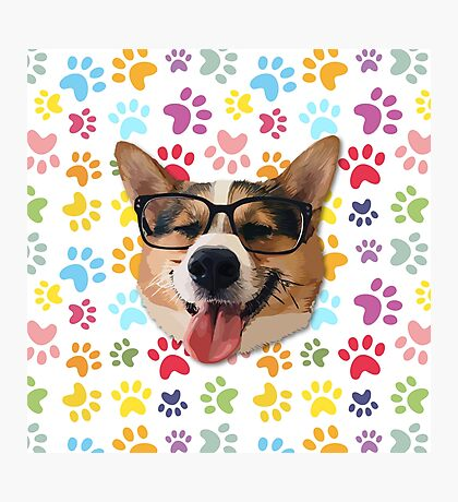 Corgi Dog with Glasses Photographic Print