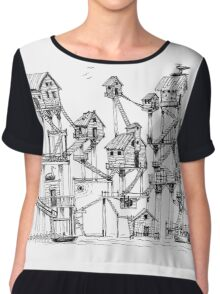 Houses at stilts at the water. Maze- like illustration. Chiffon Top