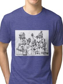 Houses at stilts at the water. Maze- like illustration. Tri-blend T-Shirt