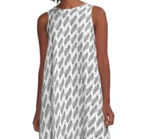 Inky Diagonal Feather Pattern A-Line Dress