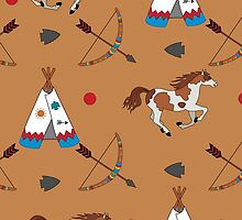 Native American pattern on brown by kathrynkonkle