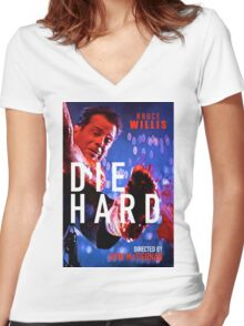 DIE HARD 11 Women's Fitted V-Neck T-Shirt