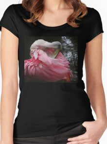 Roseate Spoonbill Grooming Women's Fitted Scoop T-Shirt
