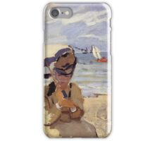 Claude Monet - Camille Sitting On The Beach At Trouville 1871 iPhone Case/Skin