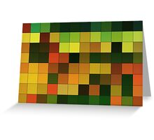Abstraction #151 Orange Yellow Brown Green Squares  Greeting Card