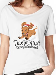 Dachshund Through The Snow - Ugly Sweater - Christmas Gift Women's Relaxed Fit T-Shirt
