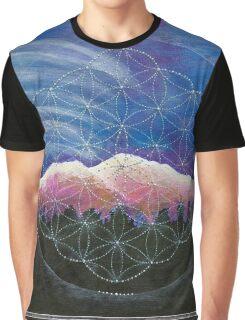 Alpine Glow Mount Shasta w/ crystal flower of life Graphic T-Shirt